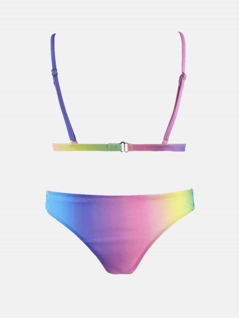lady Colorful Spaghetti Strap Ombre Skimpy Bikini - COLORMIX L Mobile