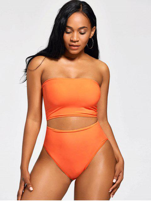 latest Strapless Bandeau High Waist Bikini - MANDARIN XL Mobile