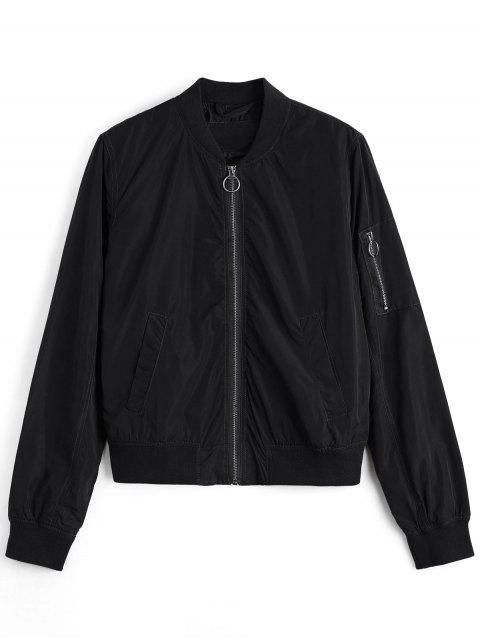 buy Zipper Plain Bomber Jacket - BLACK S Mobile