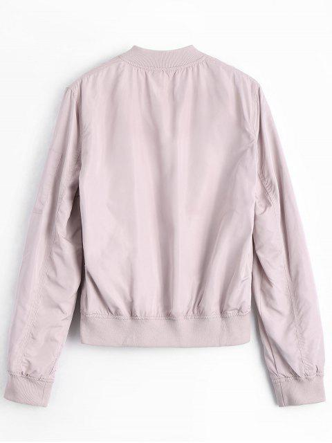 ladies Zipper Plain Bomber Jacket - PINK L Mobile