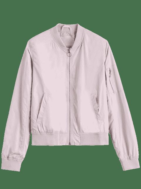 best Zipper Plain Bomber Jacket - PINK M Mobile