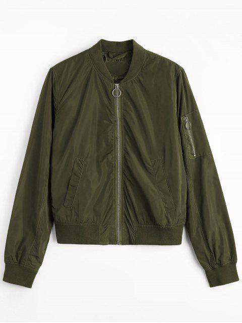outfit Zipper Plain Bomber Jacket - ARMY GREEN L Mobile