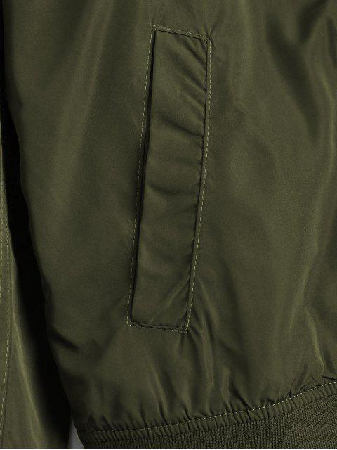 shops Zipper Plain Bomber Jacket - ARMY GREEN M Mobile