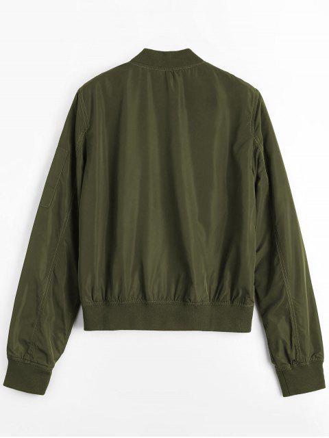 Zipper Plain Bomber Jacket - Vert Armée S Mobile