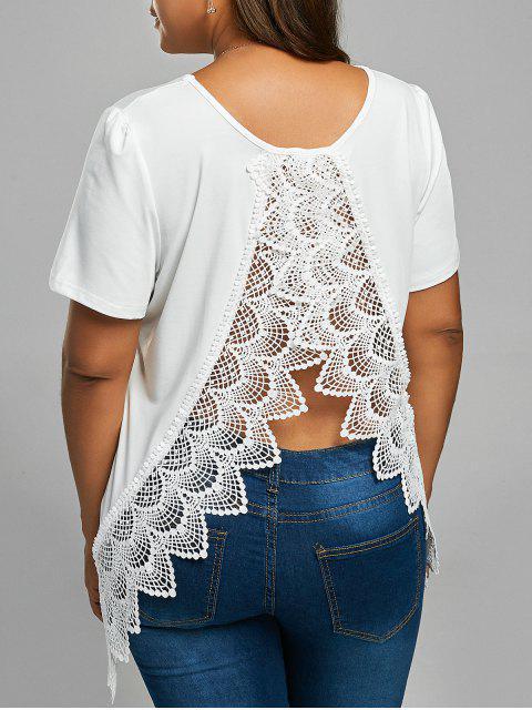 T-shirt à Dos Fendu en Dentelle Grande Taille - Blanc 5XL Mobile