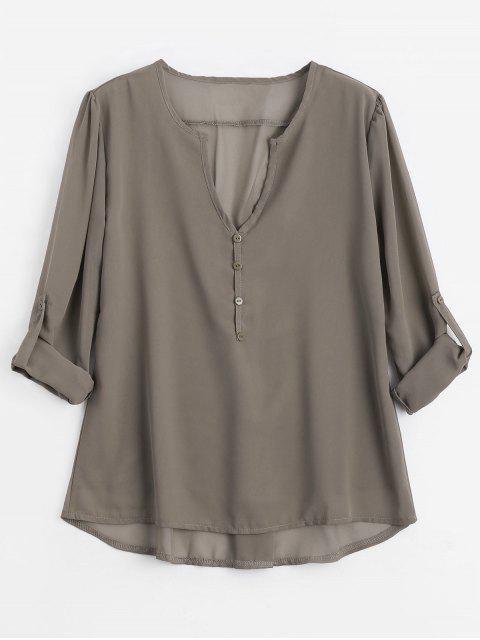 Botón con cuello en V embellecido blusa - Café Luz L Mobile