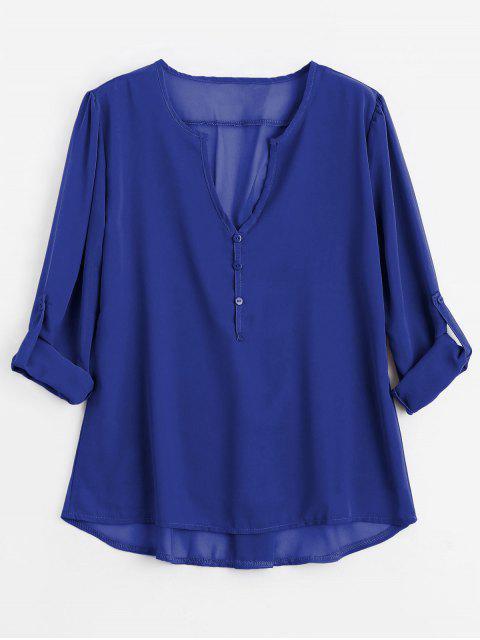 Botón con cuello en V embellecido blusa - Azul 2XL Mobile