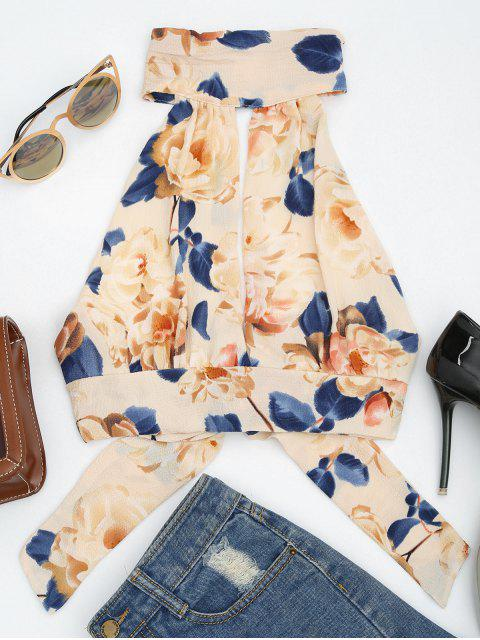 unique Floral Print Cut Out Sleeveless Crop Top - APRICOT L Mobile