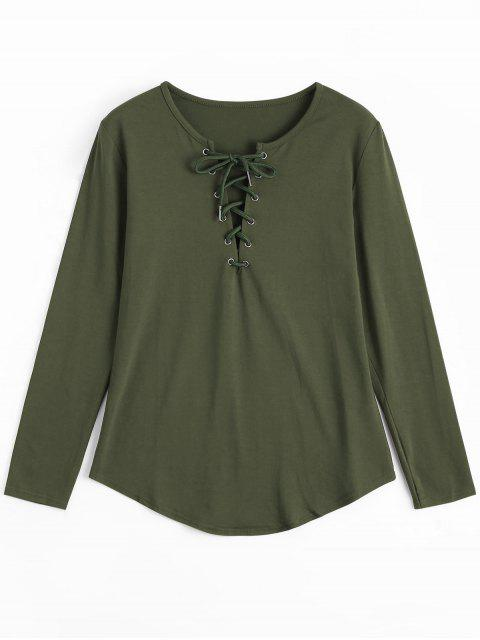 women's Lace Up Long Sleeve Plunge Tee - ARMY GREEN S Mobile