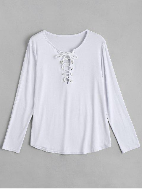 unique Lace Up Long Sleeve Plunge Tee - WHITE L Mobile