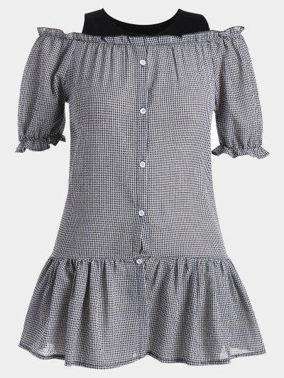 Ruffled Cold Shoulder Checked Plus Size Dress - Xadrez 3xl
