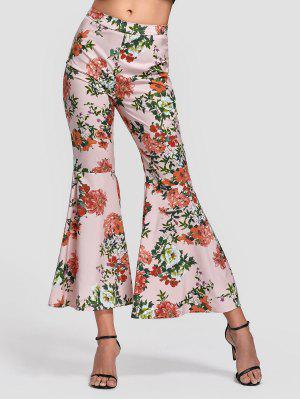 Side Zip Floral Bell Bottom Pants - Floral L