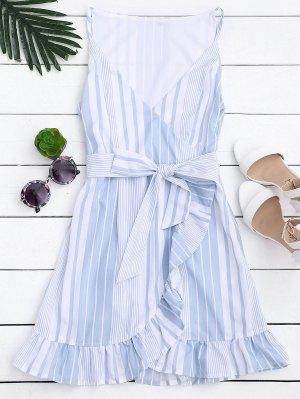 Belted Stripes Ruffles Slip Dress - Stripe 2xl