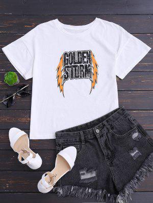 Drop Shoulder Letter Cotton T-Shirt - White S
