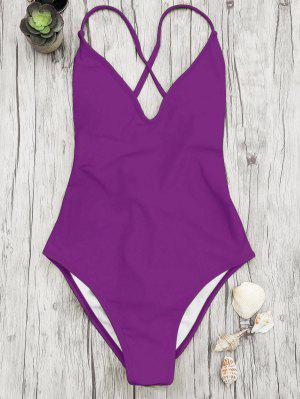 V Neck High Cut One Piece Swimsuit - Purple L