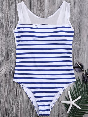 Mesh Inset Nautical Striped One Piece Swimsuit - Blue And White S