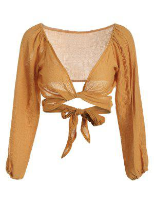Self Tie Plunging Neck Crop Blouse - Earthy M