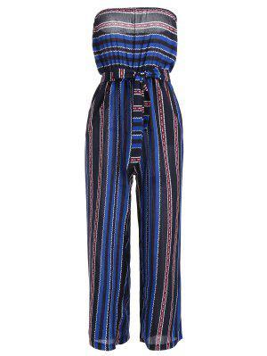 Sin Tirantes Cinturón Con Rayas Jumpsuit - Azul