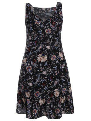 Plus Size Wide Strap Floral Tank Dress - Black 5xl