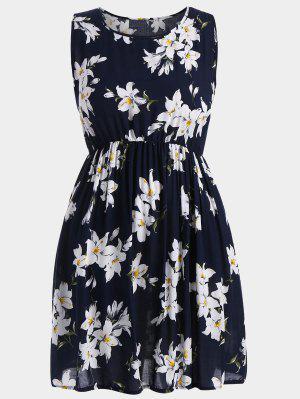 A Line Sleeveless Floral Plus Size Dress - Deep Blue 3xl