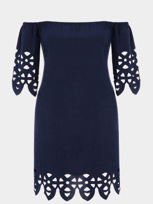 Plus Size Off Shoulder Laser Cut Trapeze Dress - Purplish Blue 4xl