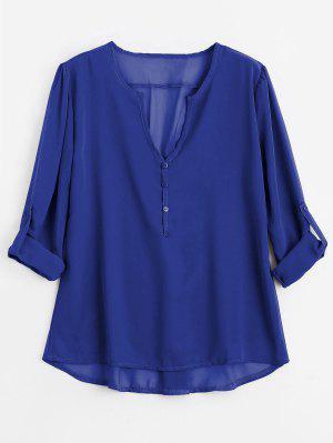 V Neck Button Embellished Blouse - Blue M
