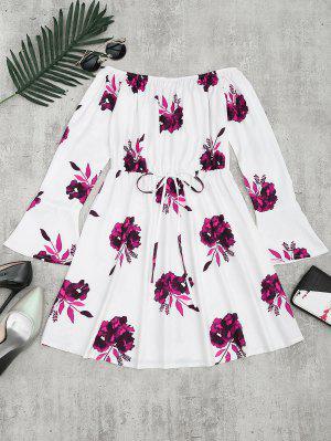 Vestido De Manga Larga Con Estampado Floral - Ciruela M