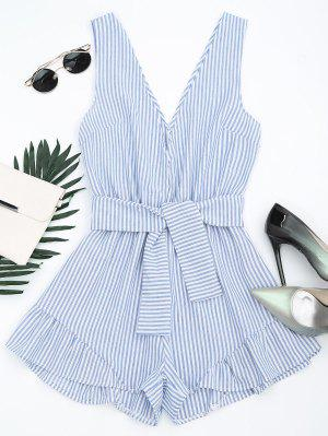 Plunging Neck Belted Striped Romper - Blue Stripe M