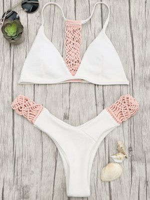 Ensemble De Bikini Rembourré Macrame Thong - Rose Et Blanc M