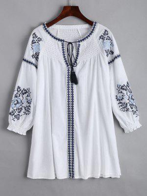 Mini Vestido Bordado Del Panel De Smocked - Blanco M