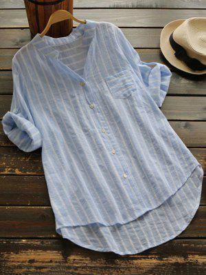 Striped Button Up Pocket Blouse - Light Blue