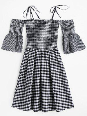 Flare Sleeve Cami Smocked Plaid Dress - Plaid L