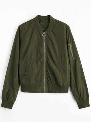 Zipper Plain Bomber Jacket - Army Green S