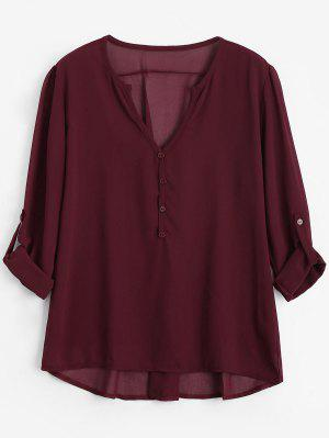 V Neck Button Embellished Blouse - Wine Red Xl