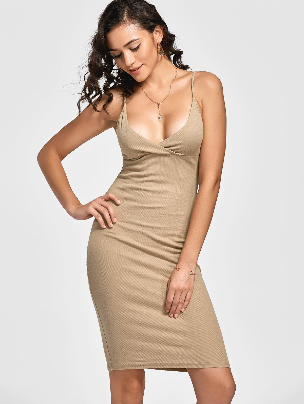 Knitted Ribbed Bodycon Dress 218036402