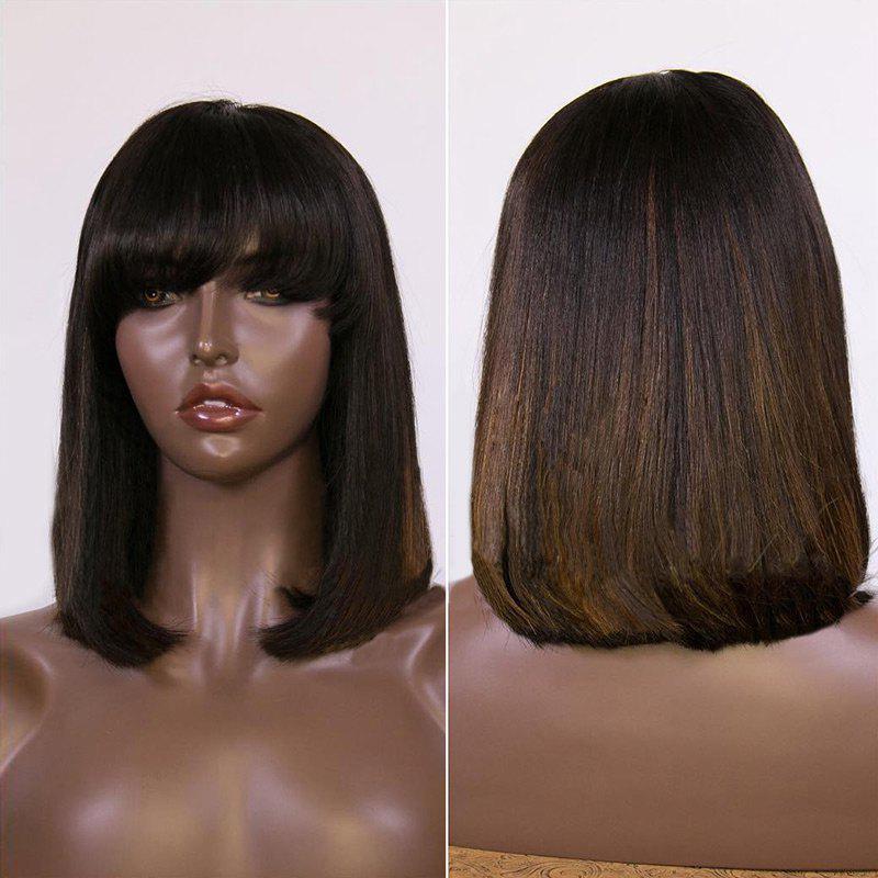 Full Bang Colormix Medium Straight Bob Synthetic Wig 220043001