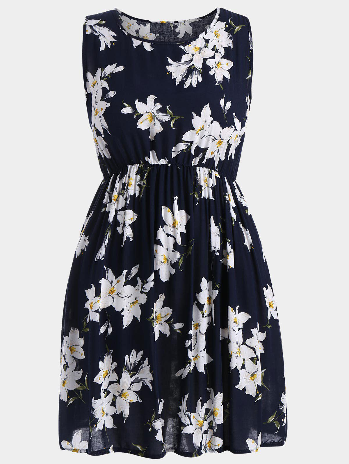 A Line Sleeveless Floral Plus Size Dress