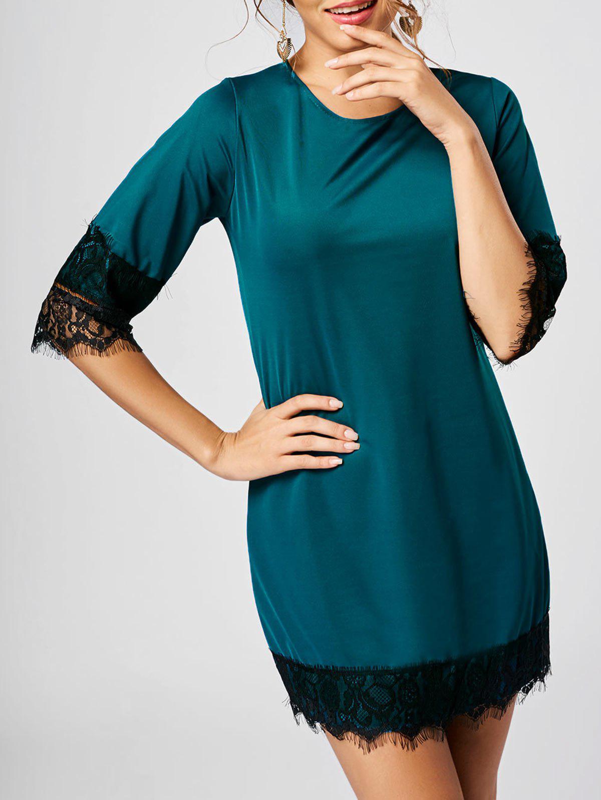 Mini Lace Insert Dress 218649215