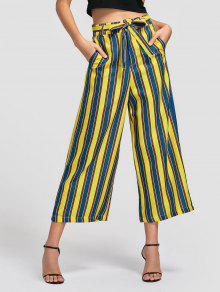 Belted Striped Wide Leg Pants - Stripe M