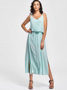 Overlay Bowknot Slit Maxi Dress - Light Blue S