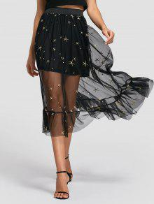 Sheer Star Embroidered A Line Skirt - Black L