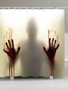 الدم الظل اليد المطبوعة للماء البوليستر دش الستار - رمادي W59 بوصة * L71 بوصة