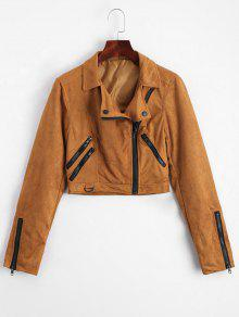 Fuax Suede Zip Up Cropped Jacket - Light Coffee Xl