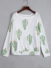 Boat Neck Cacti Print Long Sleeve Tee - White M