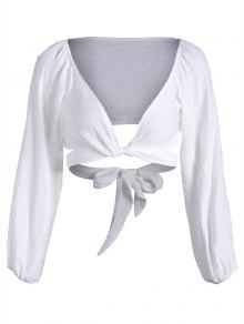 Self Tie Plunging Neck Crop Blouse - White M
