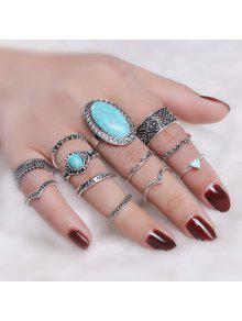 بوهو فو الفيروز خاتم البيضاوي مجموعة - فضة