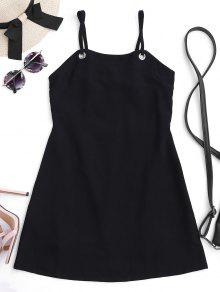 Back Tied Cut Out Mini Dress - Black M