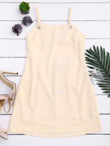 Back Tied Cut Out Mini Dress - Light Yellow S