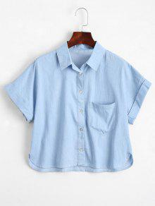 Graphic Button Down Shirt With Pocket - Light Blue M