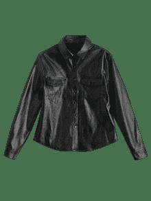 Camisa PU Negro Cuero De 2xl Bolsillos Con RwERgxqr